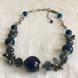 Blue and Grey Faceted Beaded Necklace